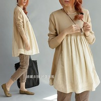Linen patchwork cotton loose cute cotton thread sweater - - beige