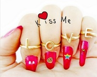 Free Shipping(12set/lot), New 2013 PUNK  Gold Alloy Combination Ring Set LOVE Letter Opening Mid Rings/Joint Finger Ring