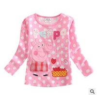 FREE SHIPPING F4245 NOVA kids wear 2014 girl's fashion tshirt printed polka dot peppa pig baby girl long sleeve T-shirts