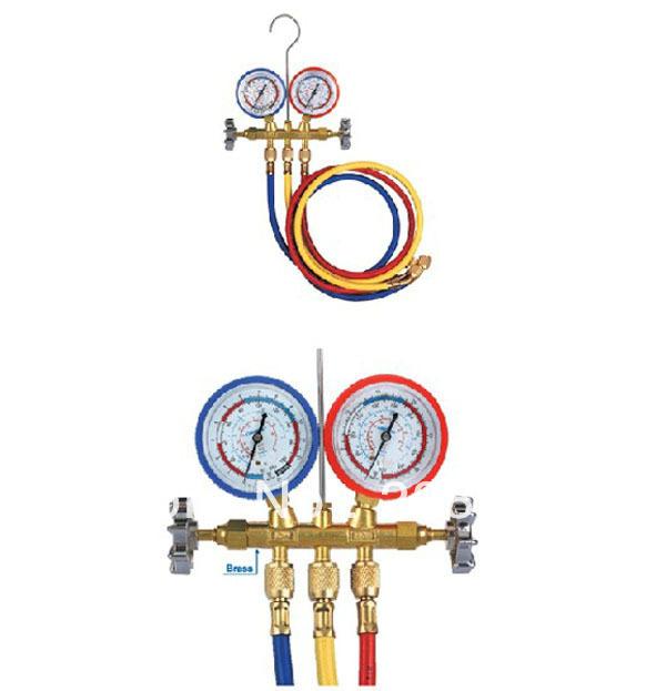 Retail box free shipping New Air Conditioning AC Refrigeration Diagnostic Manifold Gauges TOOL Set Refrigerant + a hook +3 hoses(China (Mainland))