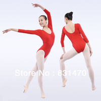 Cotton lycra women long sleeve ballet dance leotards gymnastic practice dance wear many colors available free shipping