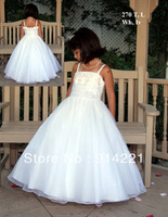 2014 Reference Images Scoop Cap Sleeveless Flower Princess Ankle-Length Organza Flower GIrl Dresses
