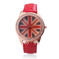 fashion ladies rhinestone watches leather strap quartz watch best Christmas gift UK flag watch free shipping 300pcs