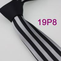 YIBEI Coachella ties Men's SKINNY Tie New Design Black Knot Contrast Silver / Black Stripes Microfiber Necktie SLIM Tie Gravata