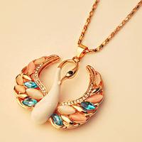 Opal Gem Swan Enamel Design Gold Plated Long Drop Statement Necklaces & Pendants New 2014 Fashion Jewelry Women Wholesale T8