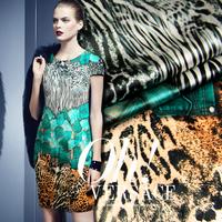 Leopard zebra print Digital print silk  elastic satin fabric  for dress