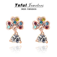 Accessories crystal stud earring earrings drop earring female fashion four leaf clover earrings long design vintage tassel