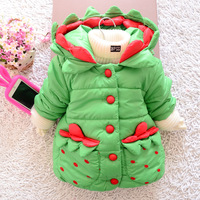 Free shipping new baby girls woolen winter outwear lovely kids child warm down coat children's hooded cotton-padded clothes