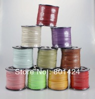 Wholesale 3mm x 1.5mm Faux Suede Cord,Leather Lace For Clothes Shoes Jewelry Making Findings,(100Yard/Spool),Free Shipping