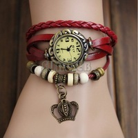 Stylish Crown Weave Wrap Synthetic Leather Bracelet Quartz Women's Wrist Watch 6 Colors 19175