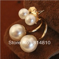 2013 popular accessaries, beautiful two artificial white pearls earrings 10pcs MOQ, free shipping