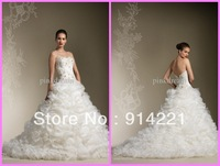 2014 Reference Images A-Line Floor Length Sweep brush Train Sequined Sweetheart  Natural Lace Up Wedding DRESS