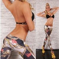 P46 New Arrival Autumn EUROPE Colorful Chain Pattern Print High Elasticity Skinny Pants Fashion Women's Leggings