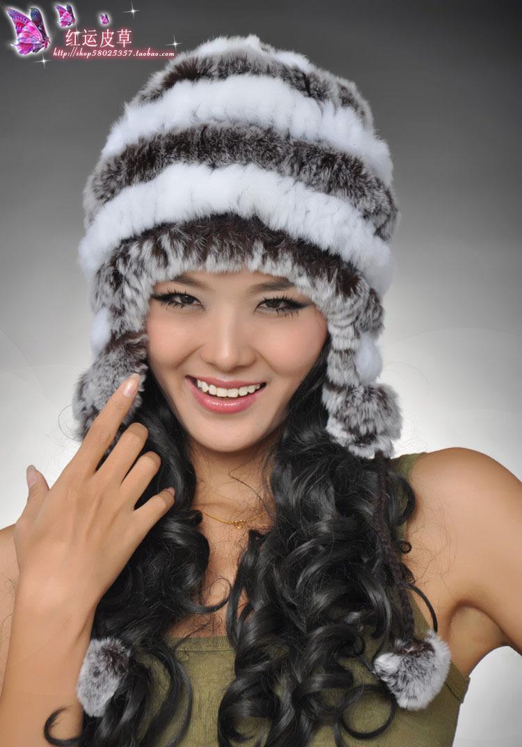 2013 fur hat women's hat rabbit fur rex rabbit hair thermal ear cap thermal protector(China (Mainland))