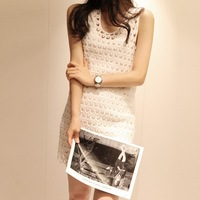 women's casual dress temperament cultivating wild embroidered openwork lace dress