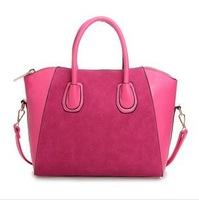 2014 High Quality Cheap Rose Blue Suede Leather and PU Fashion Women Hand Bag Leather