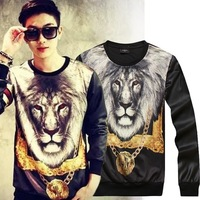 2013 New Women/Men 3D Double-sided lion printing Hoodies long sleeve Pullovers high street sweaters Galaxy sweatshirts
