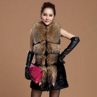 2013 autumn and winter fur vest large raccoon fur medium-long women's outerwear rabbit sweater vest