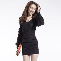 new plus size women clothing Bodycon peplum flower lace dress slash V-neck sexy evening mini dress black , Free Shipping 3size
