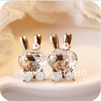 2013 fashion accessories, cute shining rabbit artificial crystal earrings, free shipping