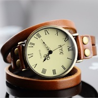 New Hot Sale! Fashion Popular Style genuine leather hand chain bracelet Quartz Watches Women dress watch