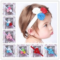 5pcs/lot Kearo kids' hair accessories Rose bud flower hairband Baby Girls Christmas gift 12 colors free shipping B111
