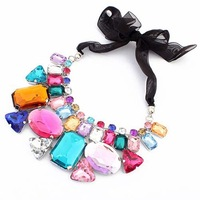 Fashion False Collar  Trend Gem Luxurious Crystal Ribbon Bow  Design Necklace