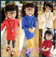 2013 New girls long T-shirts thread turtleneck blouses 7 color children clothes  autumn tops kids garments dkalch20