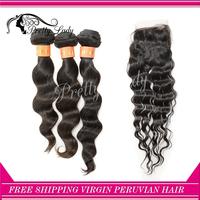 Pretty Lady closure and bundles 12-28 Peruvian Virgin hair extension loose wavy natural color  DHL free shipping aliexpress hair