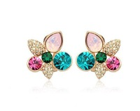 High Quality brand fashion accessories color rhinestone earrings for women 2014 new jewelry wholesale earring