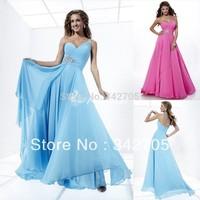 2014 Hot Selling Factory Direct Custom Made One Shoulder Floor-Length Light Blue Vestido De Renda Evening Gown Prom Long Dresses