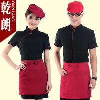 20sets [Hat-top-apron] Summer work wear female work wear short-sleeve uniform  chef full set free ship wholesale