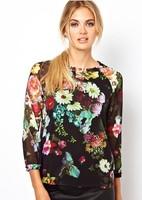 New Fashion Ladies' Vintage Pastoral Color Floral Flower Print Chiffon Blouses Women Shirt Casual Retro Nine Point Sleeve Tops