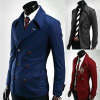 Free shipping men's long multiple pockets suit jacket fashion casual korean design outwear coat for men business black dark gray
