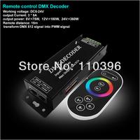dc 5-24v wireless remote control led rgb dmx decoder,invert dmx 512 signal into pwm signal dmx decoder,output 3 channel,5A/CH