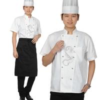 20sets [Hat-top-apron] Cook suit  work wear cook suit summer chefs uniform  cookroom chef suit full set free ship wholesale