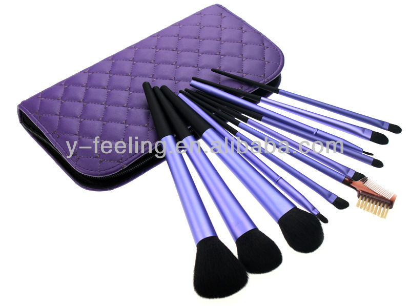 Free Shipping~ Excellent Cosmetic 11 pcs Bugle Brush Set Goat Hair Make Up Brushes Kits with PU Case 3 color option(China (Mainland))