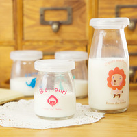 Hearts . small animal glass milk bottle pudding mold with lid yogurt bottle