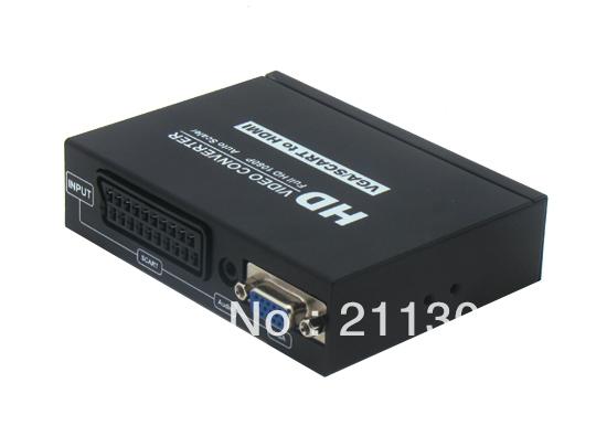 Free shipping Mute function Scart+VGA+3.5mm Stereo To HDMI Converter(China (Mainlan