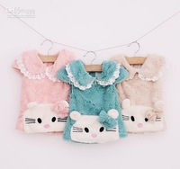 Wholesale - Fluffy Child Clothes Lace Hem Turn-down Collar Lovely Cat Bowknot Waistcoat Flocky Kid Clothing Butterfly Hollow Edg