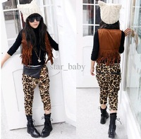 Wholesale - 2013 Fleece Leopard Casual Pants Velvet Girls Animals Pattern Trousers Kids Clothes Harem Pant Leisure Jeans D0712