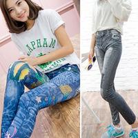 2014 autumn women's female plus size  faux denim legging ankle length trousers