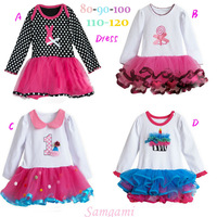 Retail new 2013 girls  long-sleeve four style tutu one-piece dress kids gauze flower dresses  children clothing