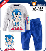 New 2013 Cool Yiwu Zhiduoxing 2T-7T boys set Autumn Pajamas clothing , t shirt+blue Pants Girls Casual suit 100% Cotton