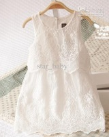 Wholesale - NWT Kids Princess Elegant Party Clothes Daisy Chain Ivory Tiered Bridesmaids Lace White Dress C0074