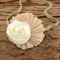 Baby girl headbands cute dot shabby chic flower headband satin ribbon rose flower with pearl hairband photo props 30pcs