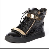 2013 fashion black GZ lace up sneakers men and women Crocodile flat shoes,casual  ankle boots size 35 to 45