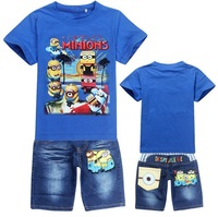 2014 Boys Suit Cotton Baby Brand Sports Sets Despicable Me 2 Minions Cartoon Clothing Sets Children/ Kids T-shirt+jeans