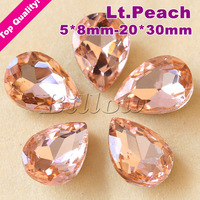 Pear Shape Crystal Fancy Stone Lt.Peach Color  Glass Point Back  Teardrop Beads 5*8 6*8 7*10 8*13 10*14 13*18 18*25 20*30mm