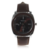Exquisite Womage 8873 Men Clock Brown Leather Wristband Watch Free Shipping